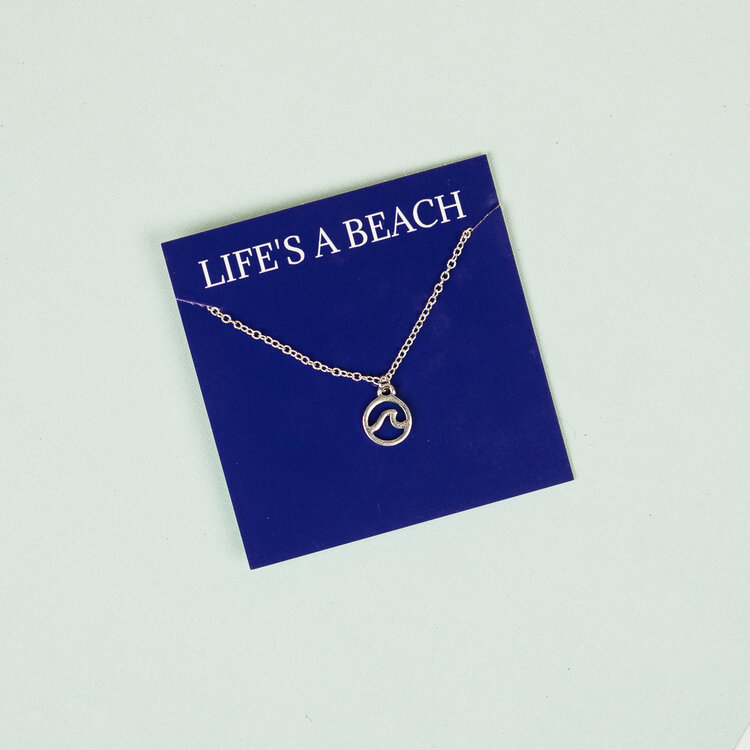 Life's a Beach Silver Necklace by Broken Record Boutique